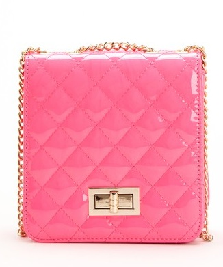 Red Kiss Lily Quilted Crossbody bag in pink. Also available in beige and black. $35